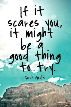 """""""If it scares you, it might be a good thing to try."""" Seth Godin quoted via """"Know Your Own Bone"""""""
