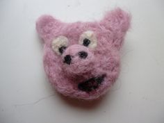 Pig Face Needle Felted Brooch by UniquelySam on Etsy, £5.00