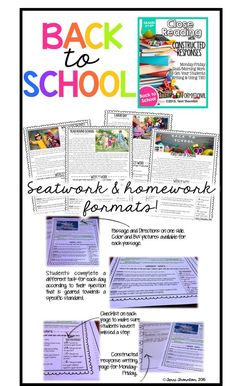 Get your students close reading and writing while supporting their answers with evidence from the text. This seat work has it all! Also available in homework format, too!