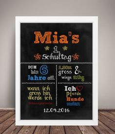 Einschulung, Tafel, 1. Schultag, First day of school, Poster, Schultüte, Schulkind, Geschenk, Andenken