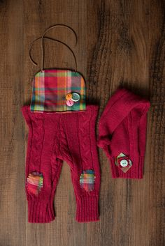 Raspberry knit and flannel romper, newborn size, RTS