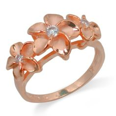 SO PRETTY!! FLORAL RING:  Three Plumeria Ring with 14K Rose Gold Finish: Jewelry