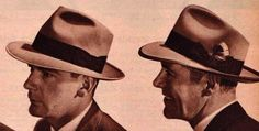 The fedora, also called a trilby, was by far the most widely worn style. It had a 2.5-3 inch brim and a tall pinched front crown with a center crease that was either flat-topped or angled to the back. Done in wool felt, they were grey, black, dark brown, tan or cream. The brim was usually bound in petersham ribbon, circled around the crown and ended with a flat bow on the side, sometimes with feathers.