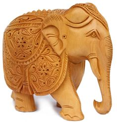 """Royal Tusker – 6"""" Lucky Wooden #Elephant Statue - Hand-Carved Collectible Figurine/ Sculpture - Unique Animal Decor"""