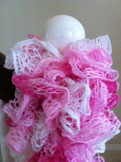Crochet Ruffle Scarf Breast Cancer Awareness by DesignsbyTiffanyJ, $20.00