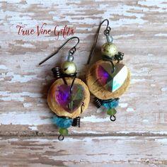 Handmade wine cork earrings from True Vine Gifts on Etsy