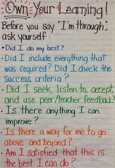 """Own Your Learning Student check-in before saying """"I'm done"""" - Great for Growth Mindset!"""
