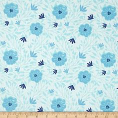 Moda Paradiso Camellia Pearl Blue from @fabricdotcom  Designed by Kate Spain for Moda, this cotton print fabric is perfect for quilting, apparel and home decor accents. Colors include shades of blue and ivory.