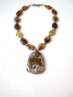SERENGETI - Statement necklace with green and brown oval prehnite gemstones, unique agate pendant