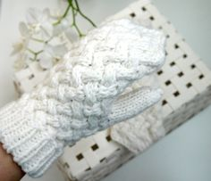 Hey, I found this really awesome Etsy listing at https://www.etsy.com/listing/213346546/white-knit-mittens-hand-knitted-for