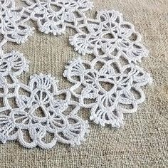 Framed crochet white wreath Gift idea for her by MyWealth on Etsy