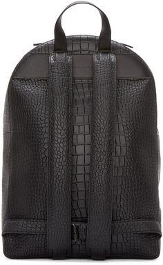 Christopher Kane Black Leather Digi Croc Backpack