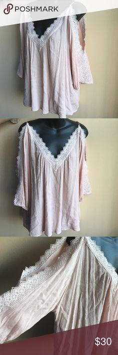 """Cute plus size blouse Sz 3X Beautiful brand new cold shoulder blouse with nice lace detailing. Fabric is 100% rayon . Missing tags . Length is 25"""" . Armpit to armpit is 26"""" laying flat. Tops Blouses"""