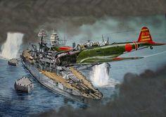 """hanspanzer: """"USS Arizona en Pearl Harbor y un Kate """""""