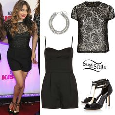 Ally Brooke poses with her bandmates at the 106.1 Kiss FM Jingle Bell wearing a Coated Lace Tee ($60.00) over the Lux Cup Detail Playsuit ($92.00) and a Silver Premium Bead Rhinestone Collar (Sold out), all from Topshop. She teamed the look with a pair of Harness Metal Detail Leather Heels by Dune ($178.00).