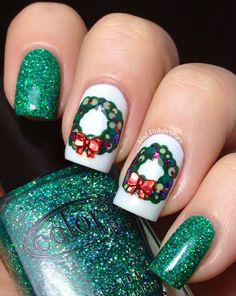 If You Like It Then You Should Have Put A Wreath On It!  Tutorial at website.  Colors: Color Club Holiday Splendor, OPI My Boyfriend Scales Walls, Orly Lucky Duck, Color Club Cactus, Sinful Colors Olympia, China Glaze Be Merry Be Bright