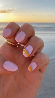 Cute Gel Nails, Summer Gel Nails, Short Gel Nails, Funky Nails, Spring Nails, Nail Design For Short Nails, Cute Easy Nails, Summer Vacation Nails, Short Pink Nails