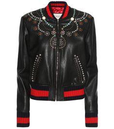 mytheresa.com - Bomber-style embellished leather jacket - Luxury Fashion for Women / Designer clothing, shoes, bags