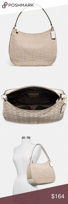 f03dcdd42 My Posh Picks · Coach Zip Shoulder Bag New with tags Coach light  khaki/chalk/gold hardware signature