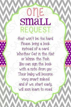 LOVE LOVE this. Ask people to bring a favorite book and write a note to baby
