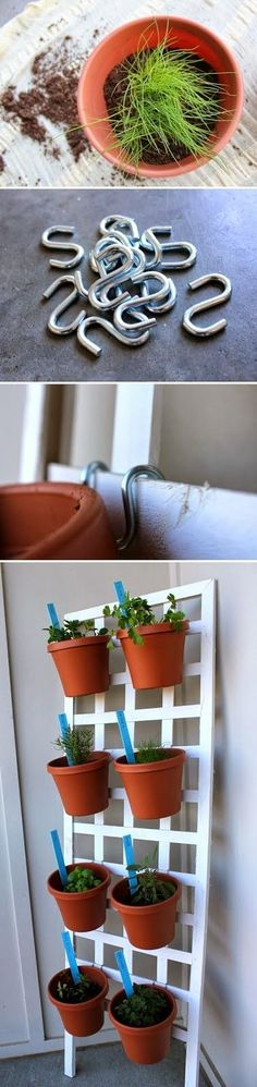 How to Space-Saving Herb Garden.....Vertical Gardening is quite the trend this year. From salad gardens built on hanging wooden planks to the inventive use of hanging shoe organizers. And why not? It is the classic cook's conundrum: You want to have fresh herbs at arm's reach, but you haven't got the space for an entire herb garden—or you live in an apartment with very little outdoor space. So, we created our own simple DIY solution that props your herb garden up with basic yard lattice.