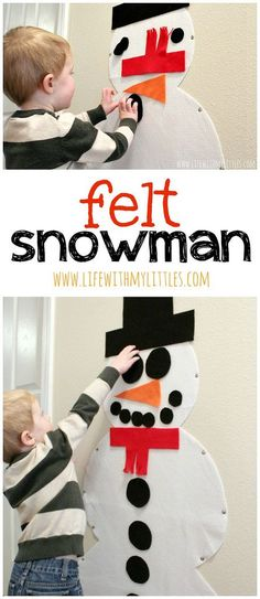 Do you want to build a snowman? This easy felt snowman is the perfect way to build a snowman inside over and over! And it couldn't be easier to make! What a fun winter craft for toddlers! Christmas For Toddlers, Christmas Toddler Activities, Winter Toddler Crafts, Winter Activities For Toddlers, Crafts Toddlers, Snowman Crafts For Preschoolers, Winter Preschool Activities, Winter Kids, Preschool Christmas