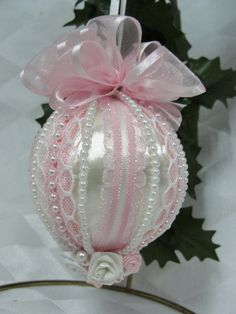 Handmade Christmas Ornament Original Design White and Pink Pearls and Bows…