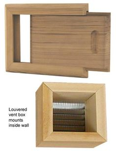 Sauna Air Vent Kit, Cedar wood door & frame with louvered box. Sauna Vent Adjustable Door gives control over air exchange in sauna. Recommended to have intake vent low on wall near sauna heater and an outlet vent on opposite wall about 1/3 up from floor under top tier bench. Sauna Ventilation keeps sauna woods heal Outdoor Sauna, Outdoor Baths, Wood Door Frame, Wood Doors, Cold Air Return, Sauna Ideas, Sauna Heater, Sauna Room, Inside Doors