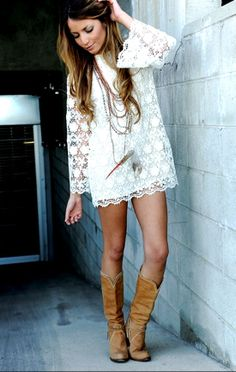 lace dress + boots  Yes, with Leggings please...:)