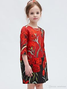 Wlmonsoon New Arrival Princess Babies Girls Carnation Florals Jacquard Christmas Party Dresses Western Fashion Kids Girls Sweet Casual Dress