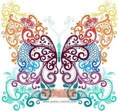 Tribal floral butterfly  cross stitch kit