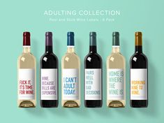 Adulting Wine Label Collection Wine Label 6 Pack Funny