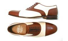 Bicolor men shoes Byrne Tan/Off white calf