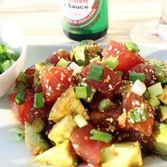 Poke is a classic Hawaiian way of preparing raw fish with soy, sesame oil and spices. It's basically Hawaiian sushi. Poke is probably the easiest fish dish to make, as you don't have to cook anything. You just mix all the ingredients and eat :-)