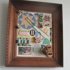Vintage crafting notions display at Jam & Cream Teahouse @ The House on the Side of the Hill blog