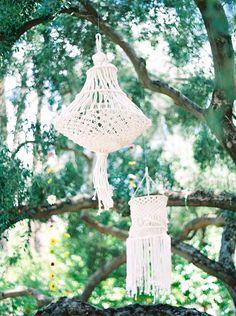 macrame chandeliers for a bohemian wedding - Melissa Jill Photography