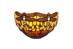 Aplique  modelo Belle Amber, con dibujo ed libelulas, fabricada con vidrios iridiscentes y emplomados con el sistema tradicional
