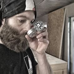 """It's important to be thorough when you're testing new products for a review. And as @beardedbrawl just premiered some pocket sized products I might as well give these little brawlers the attention they deserve. Full on field test at a dusty noise construction site . Here sniffing on """"Spicy Skirmish"""" beard balm in pocket size. Let's put it like this I'm not unhappy doing this at all. Full review coming soon…"""
