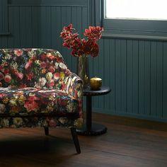 Warwick Fabrics: FLOWERBOMB Upholstery fabric, heavy commercial, textiles, floral, velvet, print