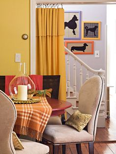 This is so cool! The yellow curtain hanging is the background is a no-sew door-way drape! Fold the top edge of a blanket down so that the other end just touches the floors. Clip curtain rings to the top edge and hang a tension rod! Great idea! BHG
