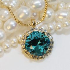 Peacock Necklace Teal Pendant Swarovski Crystal by TIMATIBO
