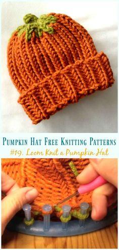 Loom Knit a Pumpkin Hat Knitting Free Pattern - Free Patterns knit hat Pumpkin Hat Free Knitting Patterns [Baby To Adults] Round Loom Knitting, Loom Knitting Stitches, Loom Knitting Projects, Free Knitting, Knifty Knitter, Loom Knitting For Beginners, Sock Knitting, Knitting Tutorials, Knitting Machine
