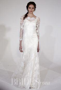 """Brides.com: . """"Montana"""" long sleeve cotton lace sheath with an illusion neckline and Guipure lace shoulder detail, Claire Pettibone Romantique"""