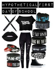 """""""Hypothetical First Day Of School"""" by broken-memories-2137 on Polyvore featuring WithChic, Converse, Warner Bros., Hot Topic, Lime Crime, Gucci and MAC Cosmetics"""