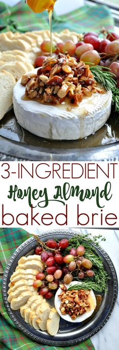 Just three ingredients and a few minutes necessary for this beautiful holiday appetizer: Honey Almond Baked Brie! #ad @bluediamond