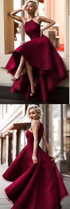 Charming Burgundy A Line Asymmetrical Lace Sleeveless Long Prom Dress OKA24 #burgundy #Asymmetrical #highlow #prom #okdresses