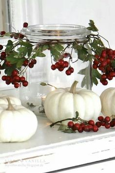 Thanksgiving White Pumpkin Decor with cranberries--start w/ orange pumpkins for Halloween, then paint white and add berries, then remove pumpkins and add pinecones for Christmas--easy changes for the whole season decorating fall diy / Herbstdeko Fall Crafts, Christmas Crafts, Diy Crafts, Christmas Holidays, Summer Crafts, Easter Crafts, White Christmas, Xmas, Halloween Pumpkins
