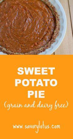 Sweet Potato Pie (grain and dairy free) |  savorylotus.com #glutenfree #paleo