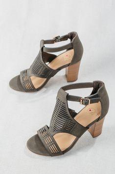 Women's Olive Green Ankle Strap Open Toe Block Heels, Women's Trendy Green Heels, Olive Green Spring Sandals. Block Heel Sandals, Women's Trending Heels, Ankle Buckle Heels, Spring 2018 Heels, Fashion Heels, Heels Under $50, Inexpensive High Heels, Cheap Heels, Sale Heels, OOTD, For Elyse, Boutique Heels, Chico
