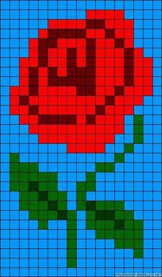 Rose pattern / chart for cross stitch, knitting, knotting, beading, weaving… Cross Stitch Cards, Cross Stitch Flowers, Cross Stitching, Cross Stitch Embroidery, Bead Loom Designs, Bead Loom Patterns, Cross Stitch Designs, Cross Stitch Patterns, Native Beading Patterns